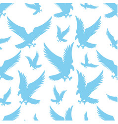 seamless pattern with blue flying birds eagles vector image