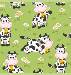 seamless pattern with funny cow vector image