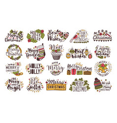 set of christmas handwritten lettering decorated vector image
