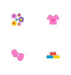 Set of infant icons flat style symbols with vector