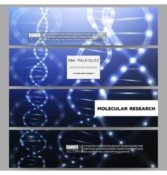 Set of modern banners DNA molecule vector image
