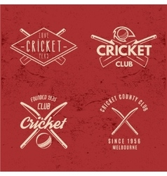 Set retro cricket club emblems design cricket vector