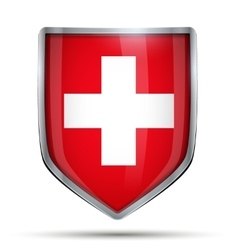 Shield with flag Switzerland vector