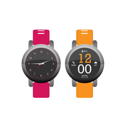 smartwatch wearable technology flat icon eps10 vector image