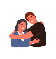 Smiling adult son hugging aged mother feeling vector