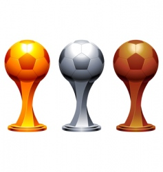 soccer trophy cups vector image