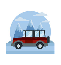 suv sport vehicle between mountains landscape vector image