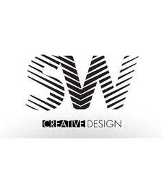 sw s w lines letter design with creative elegant vector image