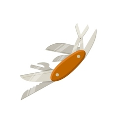 Swiss multitool knife with open blades vector