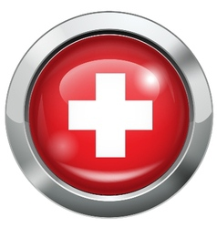 Switzerland flag metal button vector image