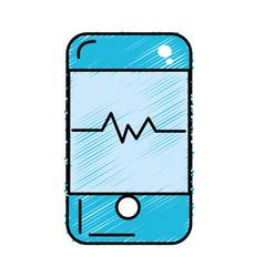 Technology smartphone with cardiac rhythm vector