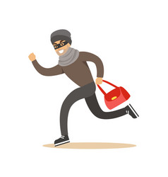 Thief running with a stolen red bag colorful vector
