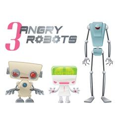 three angry robots cartoon graphic vector image