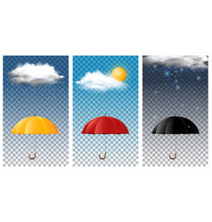 Three background with umbrella in different vector