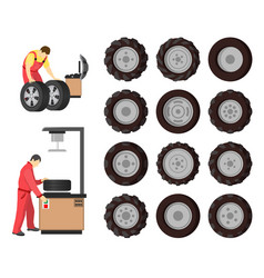 tire service emblem in cartoon style vector image