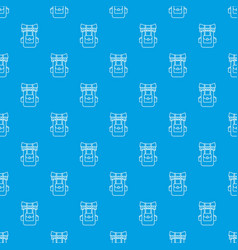 tourist backpack pattern seamless blue vector image