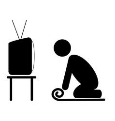 Tv yoga tutorial lesson man pictograph flat icon vector