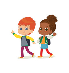 Two kids with backpacks vector