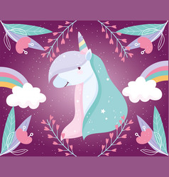 unicorn rainbows flowers fantasy magic cute vector image