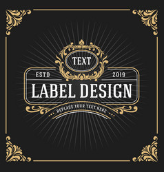vintage luxury monogram banner template design vector image