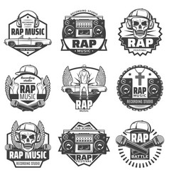 Vintage monochrome rap music labels set vector