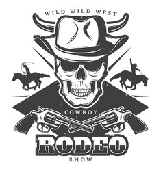 Vintage wild west rodeo template vector