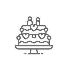 wedding cake with figures newlyweds line icon vector image