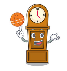 With basketball grandfather clock character vector