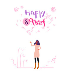 woman standing outdoor happy women day 8 march vector image
