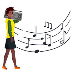 woman with tape recorder walks along music notes vector image