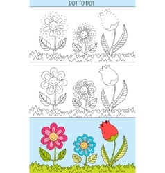 Coloring book and dot to dot educational game for vector image