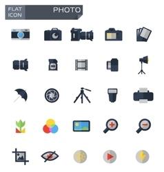 flat photo icons set vector image vector image
