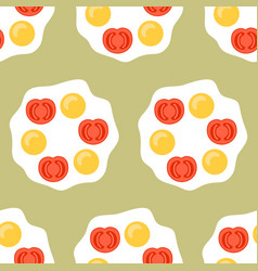 fried egg with tomatoes flat colored vector image vector image