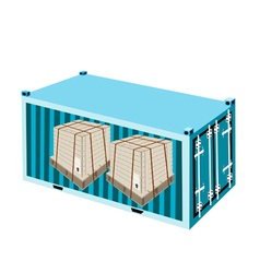 Shipping Boxes with Steel Strapping in Container vector image