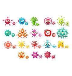 colorful bacteria cartoon characters set cute vector image