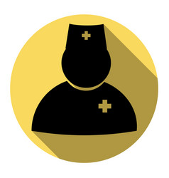doctor sign flat black icon vector image