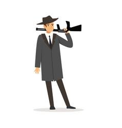 mafia man character in gray coat and fedora hat vector image