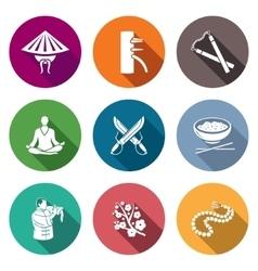 Martial Arts Wing Chun Icons Set vector image vector image
