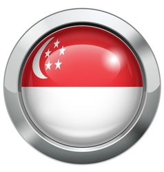 Singapore flag metal button vector image vector image