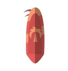 Cartoon pink surf board hobby beach summer shadow vector