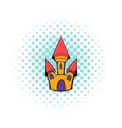 Castle icon in comics style vector image vector image