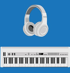 Headphones and synthesizer vector image vector image