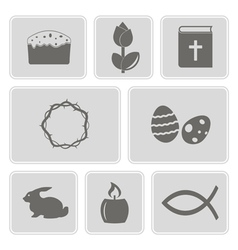 monochrome icons with easter symbols vector image