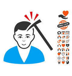 Murder with hammer icon with dating bonus vector