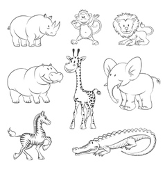 Safari and jungle animals vector image