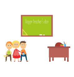 teacher day greeting card with school children vector image