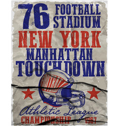 american football - vintage print for boy vector image