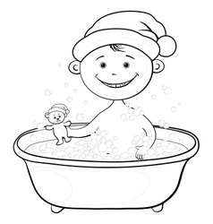 Baby Santa Claus washing in the bath outline vector image