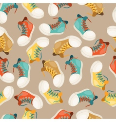 Hipster style seamless pattern with sneakers vector image