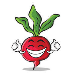 proud radish character cartoon collection vector image vector image